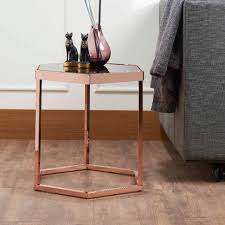 Side Table With Light Attached Hexagonal Black Glass Rose Gold Exquisite Side Table Supply