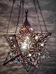 br136 antique moroccan art style pierced pendant star lamp