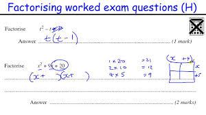 gcse maths quadratic equations questions factorising gcse maths revision higher level worked exam qu on gcse