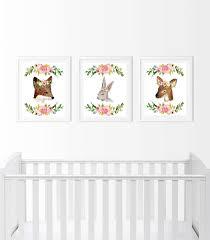 woodland nursery decor deer bunny fox watercolor fl wall art set 8x10 woodland nursery prints printable set of three