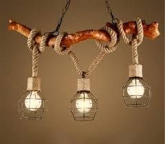 Kronleuchter Seil 3 Flammig Loft Lampe Retro Pendelleuchte