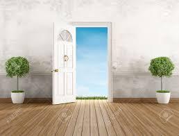 stock photo vine home entrance with open door rendering