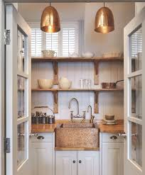 copper pendant lights in the kitchen