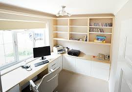 Diy fitted home office furniture Nutritionfood Spacious Modern Home Office In Ash Wood And White Built In Solutions Fitted Home Study Furniture