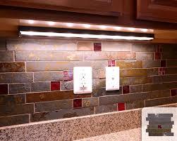 Rusty Slate Subway Mosaic Red Glass Kitchen Backsplash Tile  traditional-kitchen