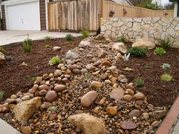 river rocks entry garden. Rock And Gravel Riverbed, Plantings, Organic Mulch A Wall. River Rocks Entry Garden N