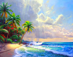 sea paintings getaways sky nature clearing bright beaches relaxing creative tropical scenery clouds soak colors trees