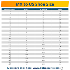 Shoe Size Chart Us To Mexico Mexican Shoe Size Conversion Charts For Men Women Kids