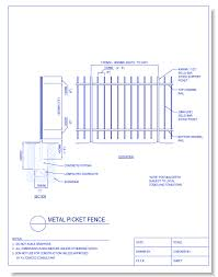 picket fence drawing. CAD Drawings CADdetails.com Metal Picket Fence Picket Fence Drawing 4