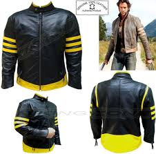 details about x men wolverine style mens blk yelo fashion high quality ene leather jacket