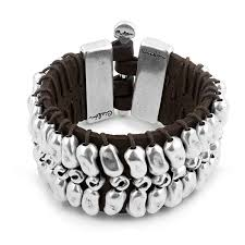 silver beaded leather wristband