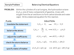 translate the statement sample problem balancing chemical equations problem plan solution balance the