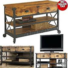 Industrial Tv Stand Sofa Table Rustic Console 2 Drawers Wheeled Media  Cabinet With Wheels4