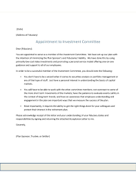 planvision investment committee member acknowledgement letter date address of fiduciary appointment to investment committee dear fiduciary you are appointed to serve as