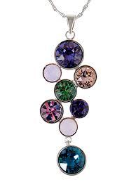 loading zoom multi color abstract dangle drop swarovski crystal rhinestone pendant necklace