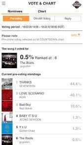 Pop Music Charts Pre Voting For Kpop Chart K Pop Music M Countdown