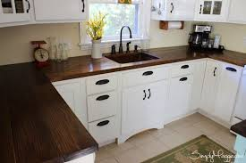 Countertops Classic White Flat Panel Cabinets Butcher Block