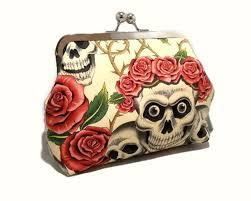 skull and roses clutch purse rockabilly pin up 1950s makeup bag rocknroll tattoo
