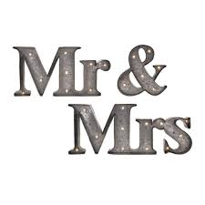 set of 3 just married mr mrs lighted galvanized metal sign wall art decor 29 75 com