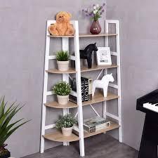 Wooden Ladder Display Stand Simple Costway 32 Tier Wood Corner Bookcase Ladder Shelf Wall Unit Bookshelf