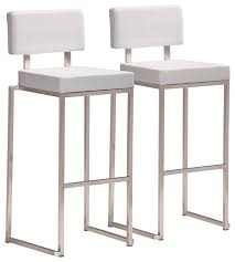 zuo decade stainless steel and white bar stool set of 2