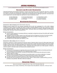 Bookkeeper Resume Examples In Word El Parga