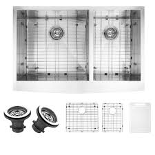 vigo farmhouse a front stainless steel 36 in double bowl kitchen sink with grid and