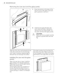 removing the oven door and the glass panels installing the door and the glass panels
