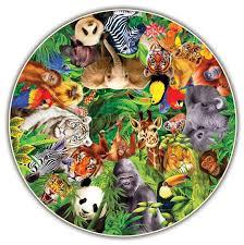 wild animals round table puzzle jungle animals shaped puzzle
