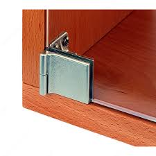 snap in hinge for glass door recessed within furniture cabinet