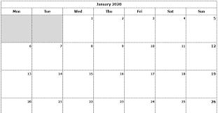Blank Dec 2020 Calendar Download 2020 Monthly Calendar Sun Start Ink Saver Excel