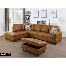 faux leather sofa chaise with ottoman