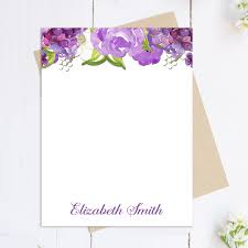 purple note cards purple flowers personalized note cards