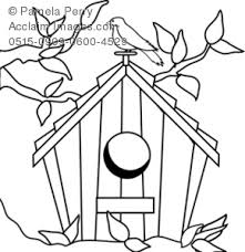 Small Picture Coloring Page Illustration of a Birdhouse
