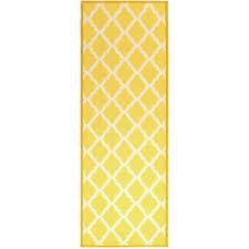 fantastic yellow runner rug ottomanson pink collection yellow moroccan trellis design runner