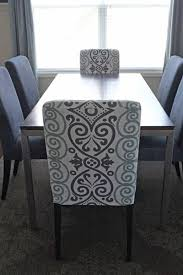 dining room set love the end chairs with patterned fabric and the middle with solid fabric