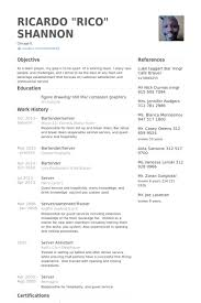 Bartender/Server Resume samples