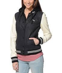 obey the varsity charcoal cream hooded varsity jacket