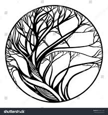 Vector Sketch Tattoo Black White Tree Stock Vector Royalty Free