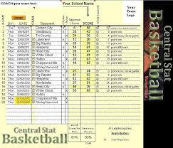 Basketball Stats Excel Template Central Stat Basketball Management Program