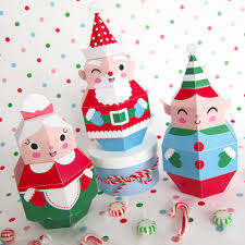 Paper Crafts For Christmas Santa Mrs Claus And Elf Treat Boxes Prinatble Paper Christmas