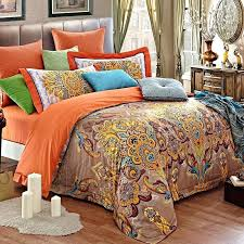 indian bedding sets light tan orange and gold tribal pattern paisley park throughout inspired duvet covers indian bedding