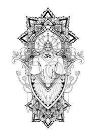 Nálepka Silueta Ganesha Mandala Orientální Kresba Ilustrace Tetování