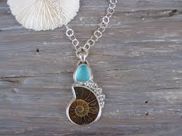 ammonite and sea glass bubbles long necklace