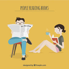 blue background vector from reading open book cartoon source freepik couple reading a book and newspaper