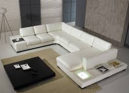 t35 white leather sectional sofa with lights
