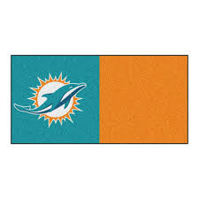 fanmats nfl miami dolphins orange and teal nylon 18 in x 18 in