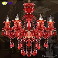 fumat red crystal chandelier fashion modern crystal light candle home lighting living room dinning room cafe retro chandeliers hanging ceiling lamps hanging