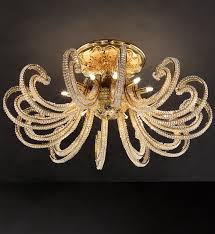 gold and crystal 12 arm ceiling light