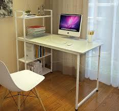 exceeder workstation wood steel computer desk with storage shelves white